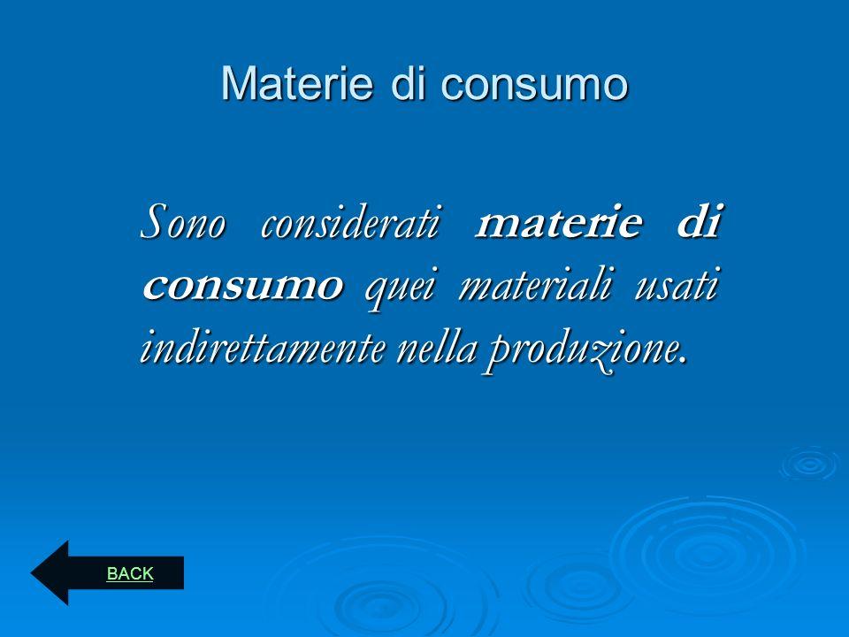 Materie di consumo Sono considerati materie di consumo quei materiali usati indirettamente nella produzione. BACK