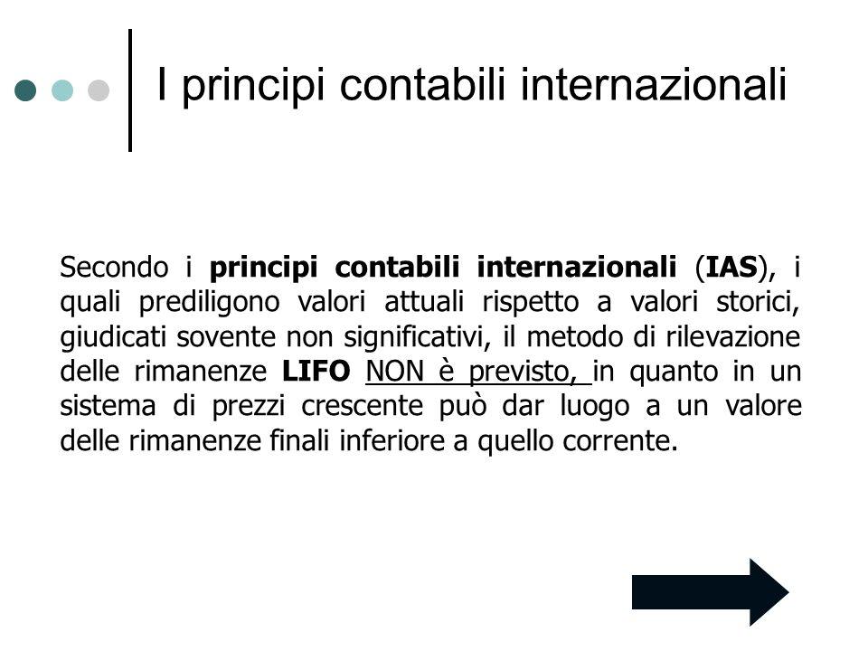 I principi contabili internazionali Secondo i principi contabili internazionali (IAS), i quali prediligono valori attuali rispetto a valori storici, g