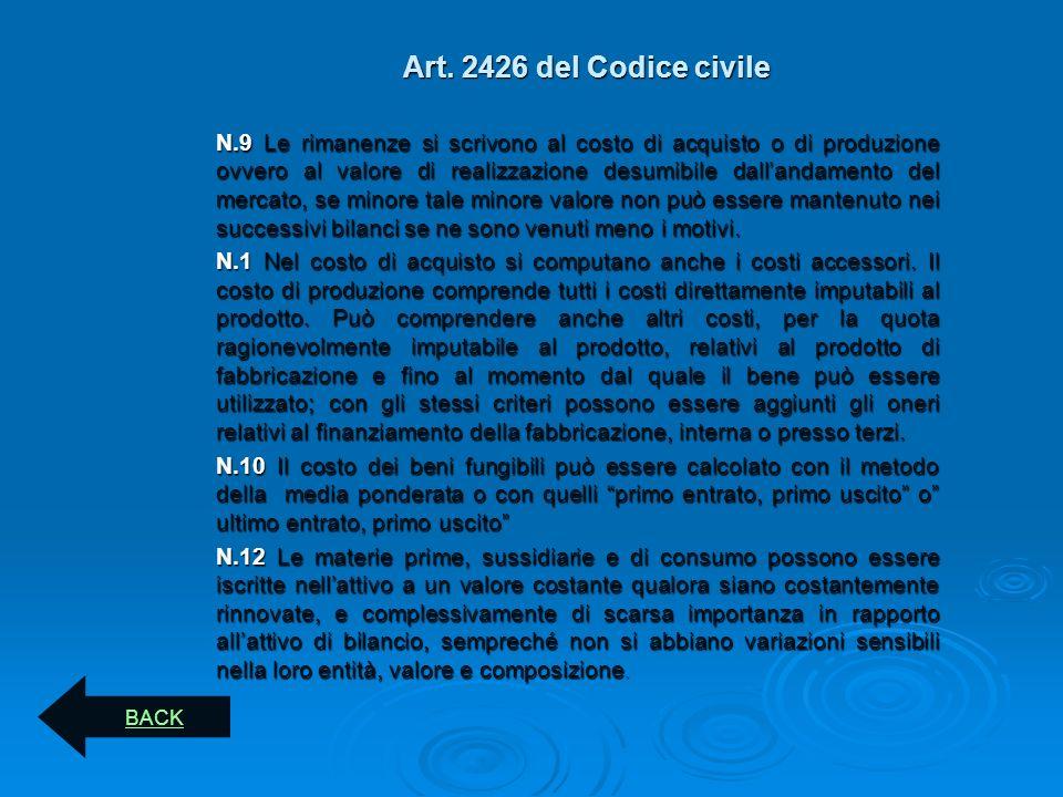 Art. 2426 del Codice civile N.9 Le rimanenze si scrivono al costo di acquisto o di produzione ovvero al valore di realizzazione desumibile dallandamen