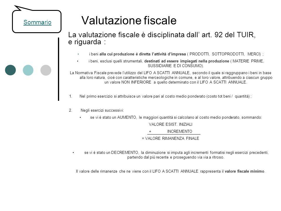 Valutazione fiscale La valutazione fiscale è disciplinata dall art. 92 del TUIR, e riguarda : i beni alla cui produzione è diretta lattività dimpresa