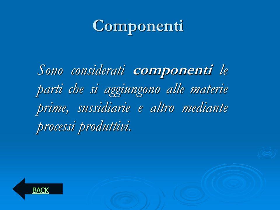 Componenti Sono considerati componenti le parti che si aggiungono alle materie prime, sussidiarie e altro mediante processi produttivi. BACK