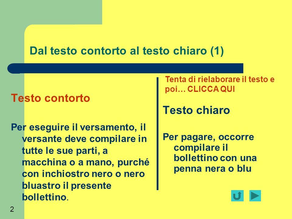 2 Dal testo contorto al testo chiaro (1) Testo contorto Per eseguire il versamento, il versante deve compilare in tutte le sue parti, a macchina o a m