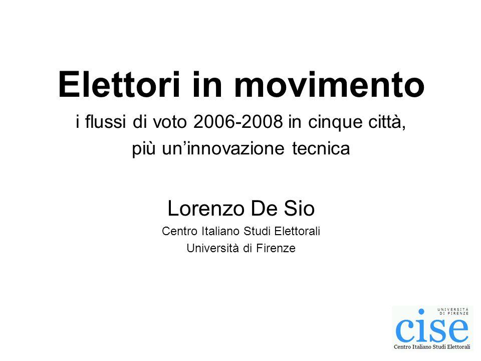 Elettori in movimento i flussi di voto 2006-2008 in cinque città, più uninnovazione tecnica Lorenzo De Sio Centro Italiano Studi Elettorali Università di Firenze