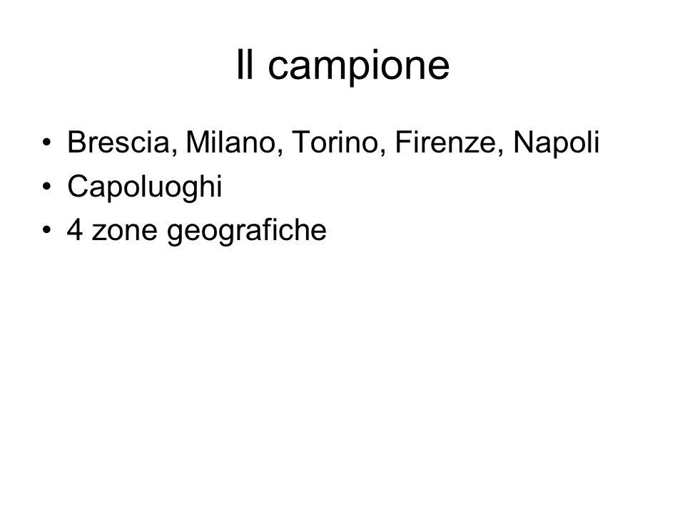 Il campione Brescia, Milano, Torino, Firenze, Napoli Capoluoghi 4 zone geografiche