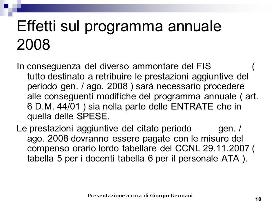 10 Effetti sul programma annuale 2008 ENTRATE SPESE. In conseguenza del diverso ammontare del FIS ( tutto destinato a retribuire le prestazioni aggiun
