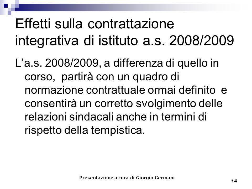14 Effetti sulla contrattazione integrativa di istituto a.s. 2008/2009 La.s. 2008/2009, a differenza di quello in corso, partirà con un quadro di norm