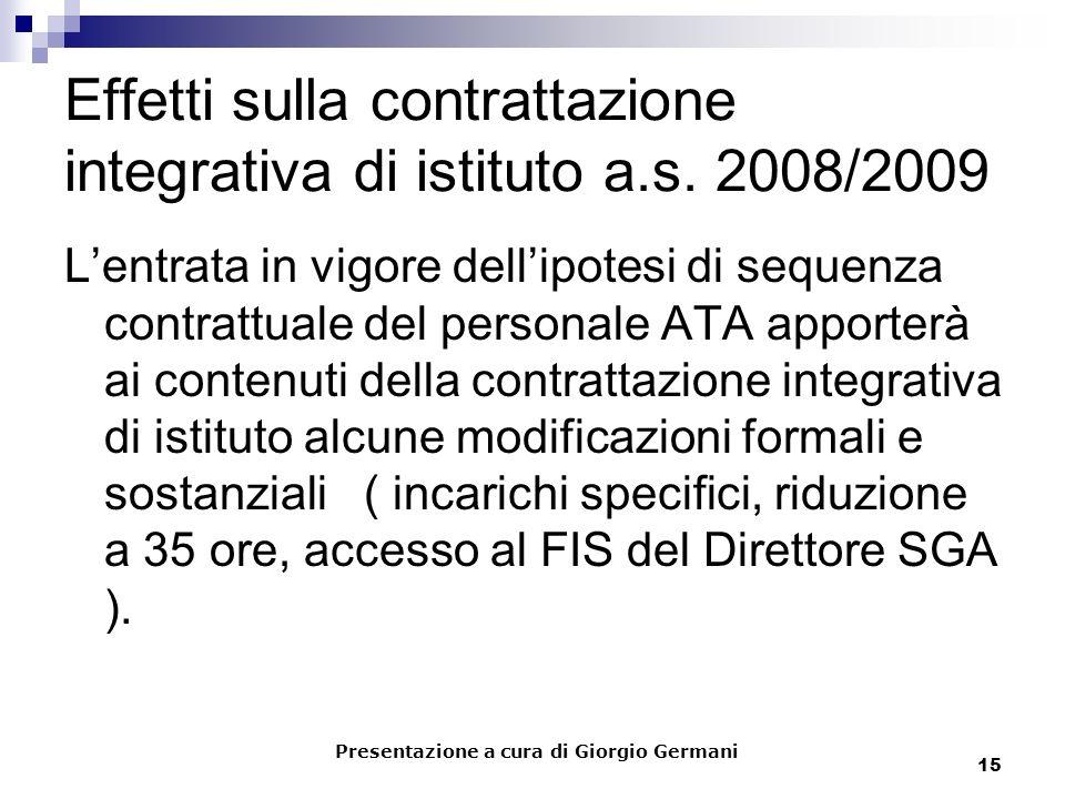 15 Effetti sulla contrattazione integrativa di istituto a.s. 2008/2009 Lentrata in vigore dellipotesi di sequenza contrattuale del personale ATA appor
