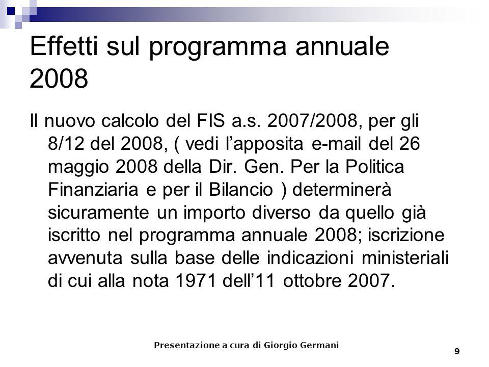 9 Effetti sul programma annuale 2008 Il nuovo calcolo del FIS a.s. 2007/2008, per gli 8/12 del 2008, ( vedi lapposita e-mail del 26 maggio 2008 della