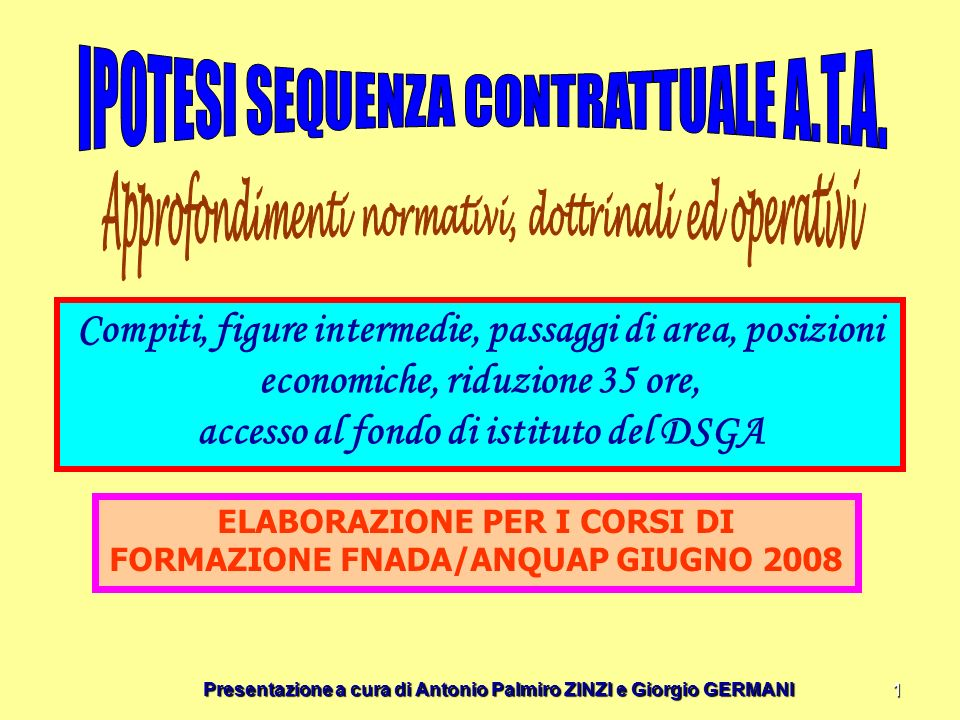 Presentazione a cura di Antonio Palmiro ZINZI e Giorgio GERMANI 1 Compiti, figure intermedie, passaggi di area, posizioni economiche, riduzione 35 ore