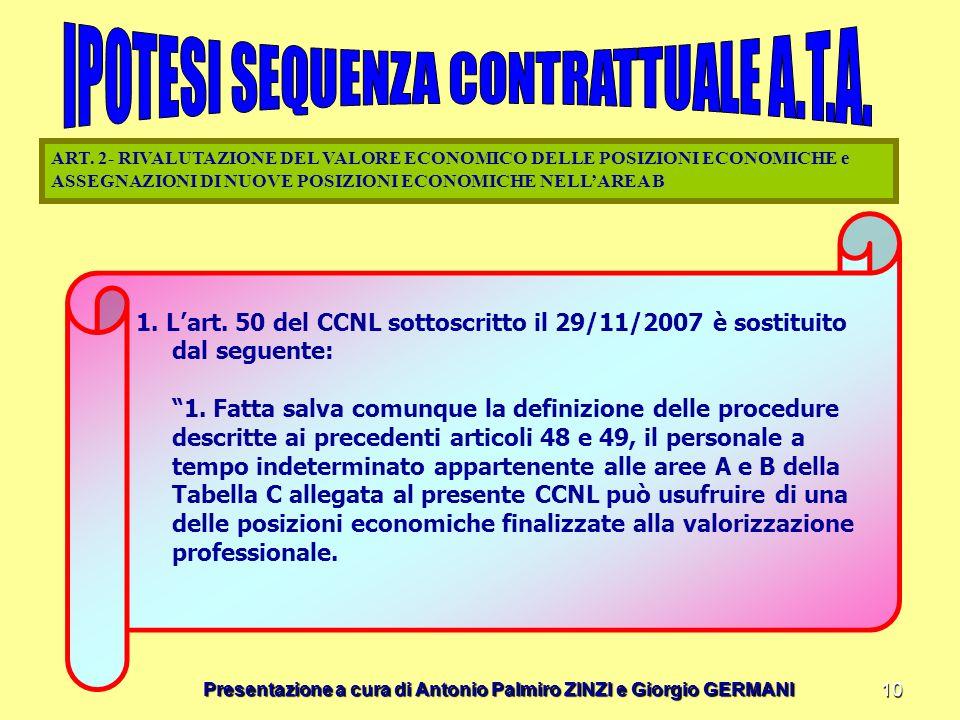 Presentazione a cura di Antonio Palmiro ZINZI e Giorgio GERMANI 10 1. Lart. 50 del CCNL sottoscritto il 29/11/2007 è sostituito dal seguente: 1. Fatta
