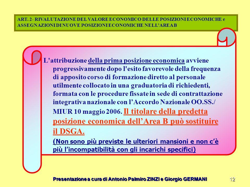 Presentazione a cura di Antonio Palmiro ZINZI e Giorgio GERMANI 12 ART. 2- RIVALUTAZIONE DEL VALORE ECONOMICO DELLE POSIZIONI ECONOMICHE e ASSEGNAZION