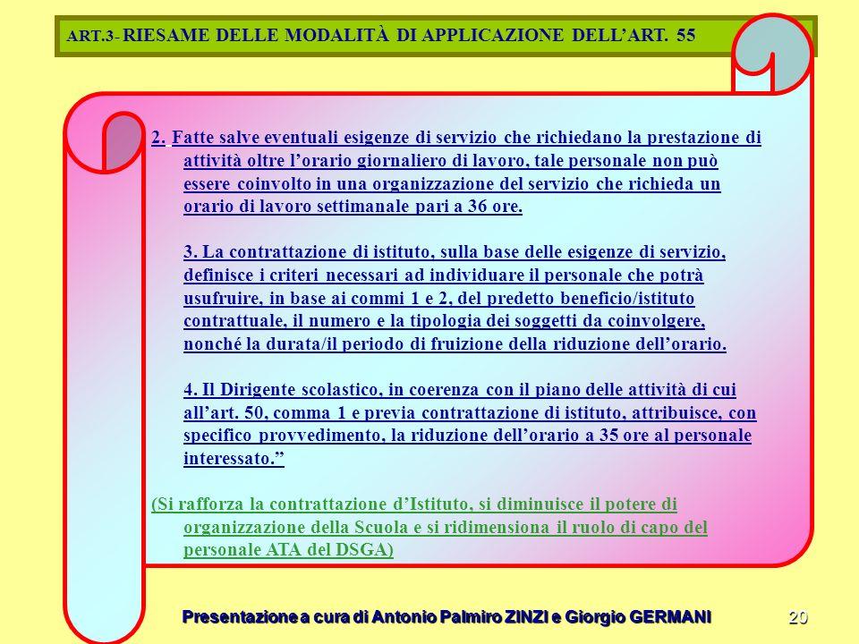 Presentazione a cura di Antonio Palmiro ZINZI e Giorgio GERMANI 20 ART.3- RIESAME DELLE MODALITÀ DI APPLICAZIONE DELLART. 55 2. Fatte salve eventuali