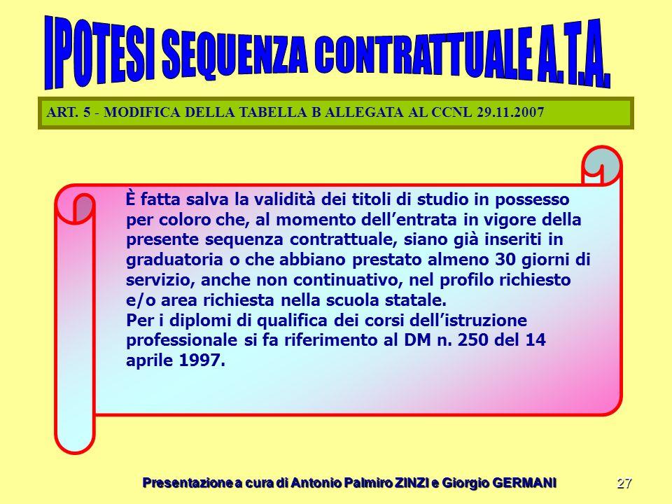 Presentazione a cura di Antonio Palmiro ZINZI e Giorgio GERMANI 27 ART. 5 - MODIFICA DELLA TABELLA B ALLEGATA AL CCNL 29.11.2007 È fatta salva la vali