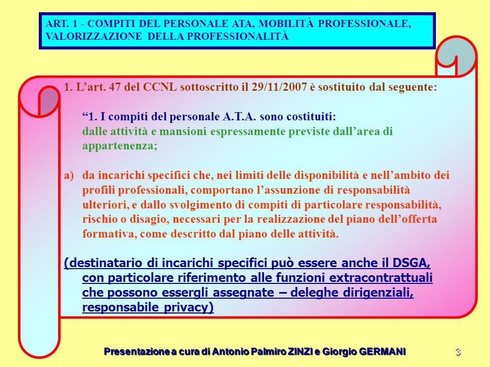 Presentazione a cura di Antonio Palmiro ZINZI e Giorgio GERMANI 3 ART. 1 - COMPITI DEL PERSONALE ATA, MOBILITÀ PROFESSIONALE, VALORIZZAZIONE DELLA PRO
