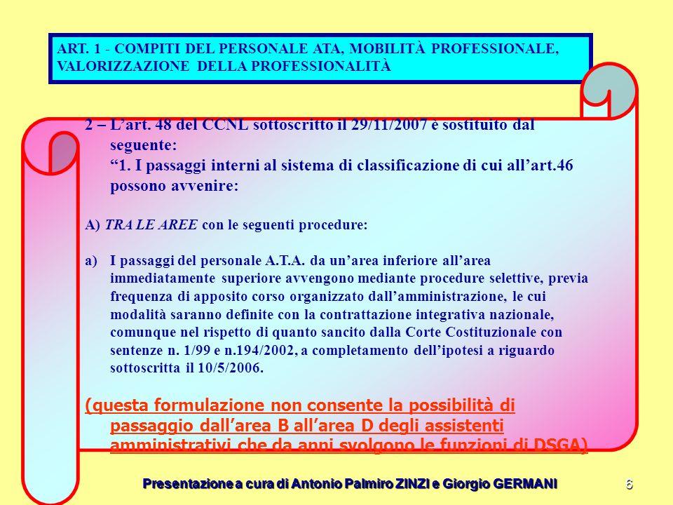 Presentazione a cura di Antonio Palmiro ZINZI e Giorgio GERMANI 6 ART. 1 - COMPITI DEL PERSONALE ATA, MOBILITÀ PROFESSIONALE, VALORIZZAZIONE DELLA PRO