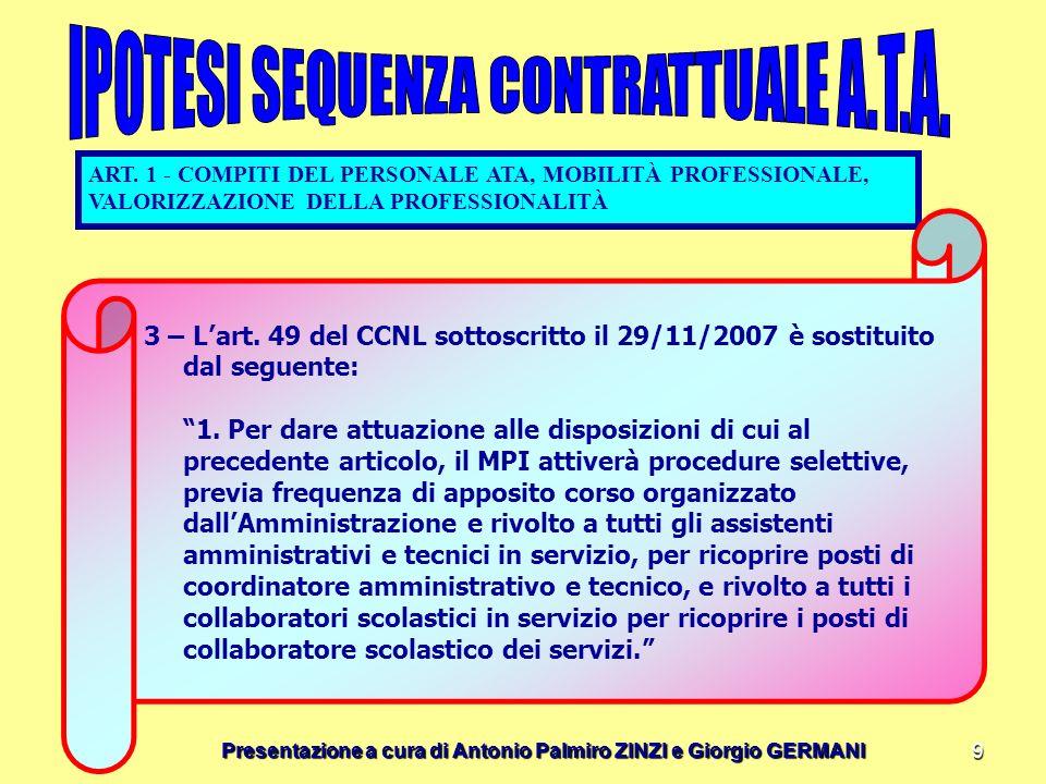 Presentazione a cura di Antonio Palmiro ZINZI e Giorgio GERMANI 9 ART. 1 - COMPITI DEL PERSONALE ATA, MOBILITÀ PROFESSIONALE, VALORIZZAZIONE DELLA PRO