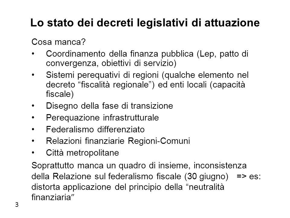 3 Lo stato dei decreti legislativi di attuazione Cosa manca.