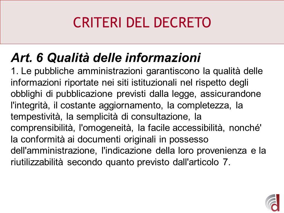 CRITERI DEL DECRETO Art. 6 Qualità delle informazioni 1. Le pubbliche amministrazioni garantiscono la qualità delle informazioni riportate nei siti is
