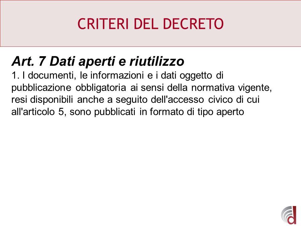 CRITERI DEL DECRETO Art. 7 Dati aperti e riutilizzo 1. I documenti, le informazioni e i dati oggetto di pubblicazione obbligatoria ai sensi della norm