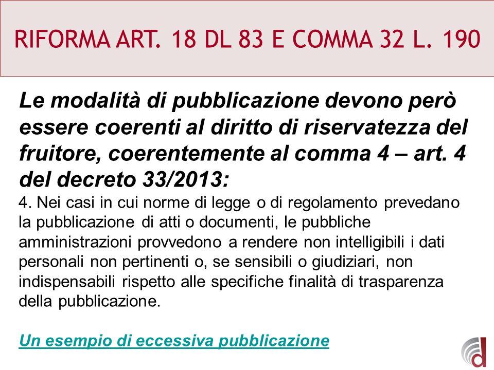 RIFORMA ART. 18 DL 83 E COMMA 32 L. 190 Le modalità di pubblicazione devono però essere coerenti al diritto di riservatezza del fruitore, coerentement