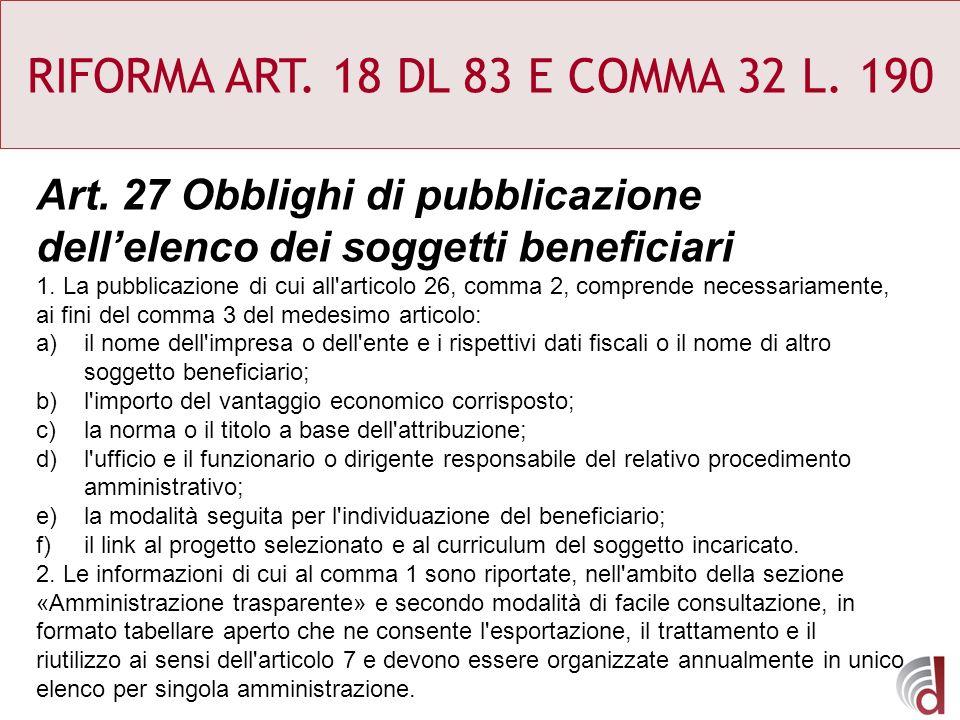 RIFORMA ART. 18 DL 83 E COMMA 32 L. 190 Art. 27 Obblighi di pubblicazione dellelenco dei soggetti beneficiari 1. La pubblicazione di cui all'articolo