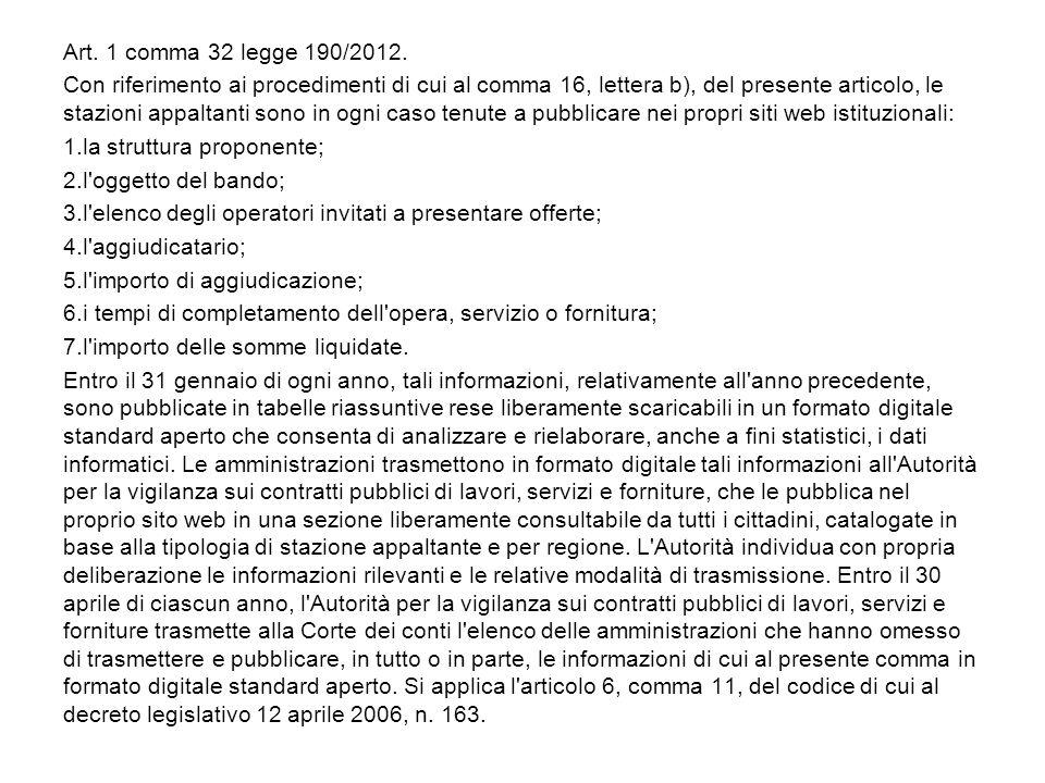 Art. 1 comma 32 legge 190/2012. Con riferimento ai procedimenti di cui al comma 16, lettera b), del presente articolo, le stazioni appaltanti sono in