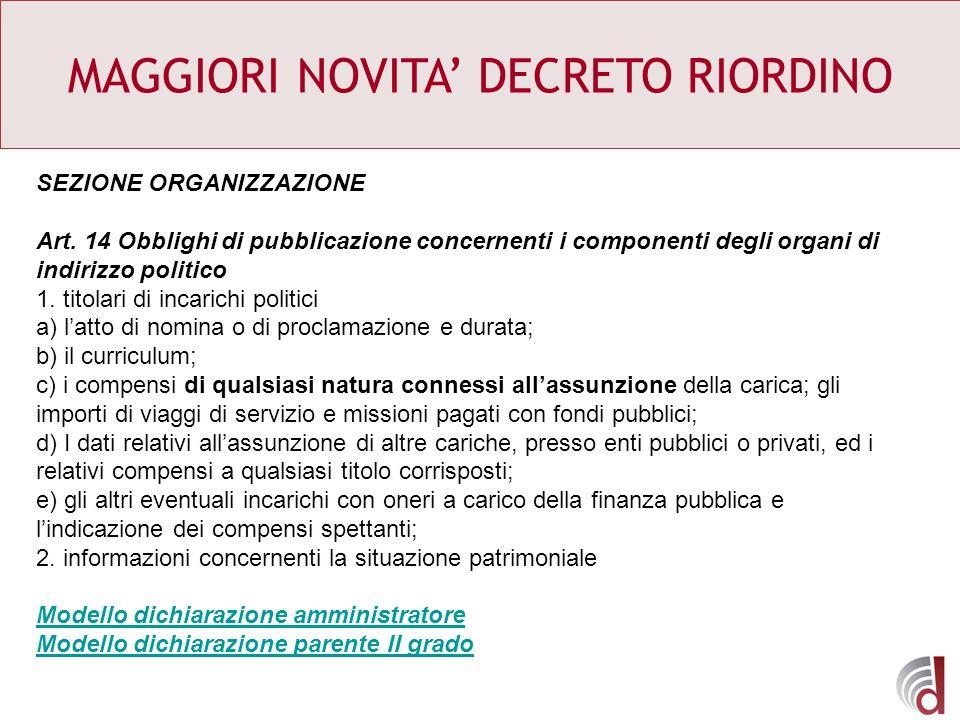 MAGGIORI NOVITA DECRETO RIORDINO SEZIONE ORGANIZZAZIONE Art. 14 Obblighi di pubblicazione concernenti i componenti degli organi di indirizzo politico