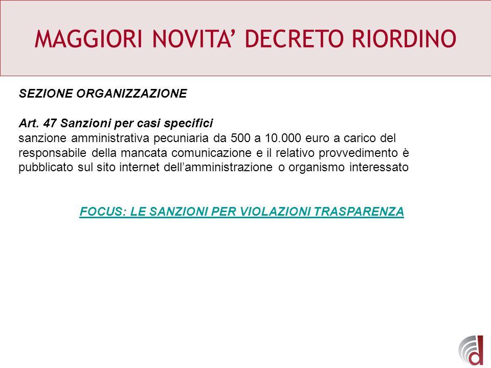 MAGGIORI NOVITA DECRETO RIORDINO SEZIONE ORGANIZZAZIONE Art. 47 Sanzioni per casi specifici sanzione amministrativa pecuniaria da 500 a 10.000 euro a