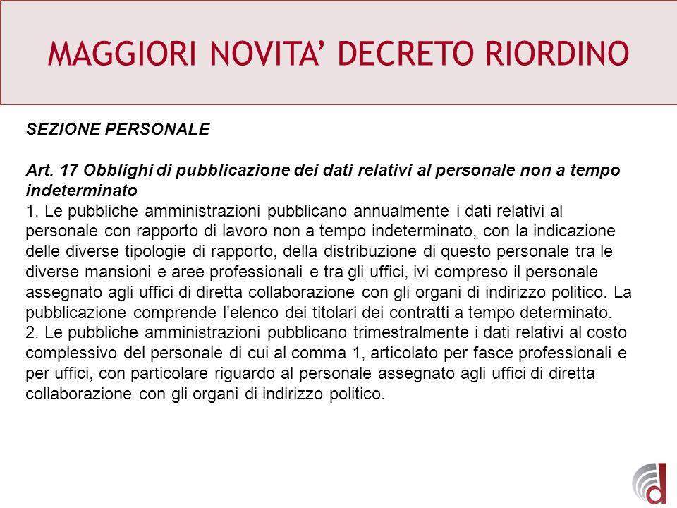 MAGGIORI NOVITA DECRETO RIORDINO SEZIONE PERSONALE Art. 17 Obblighi di pubblicazione dei dati relativi al personale non a tempo indeterminato 1. Le pu