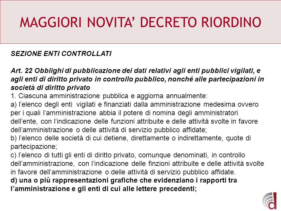 MAGGIORI NOVITA DECRETO RIORDINO SEZIONE ENTI CONTROLLATI Art. 22 Obblighi di pubblicazione dei dati relativi agli enti pubblici vigilati, e agli enti