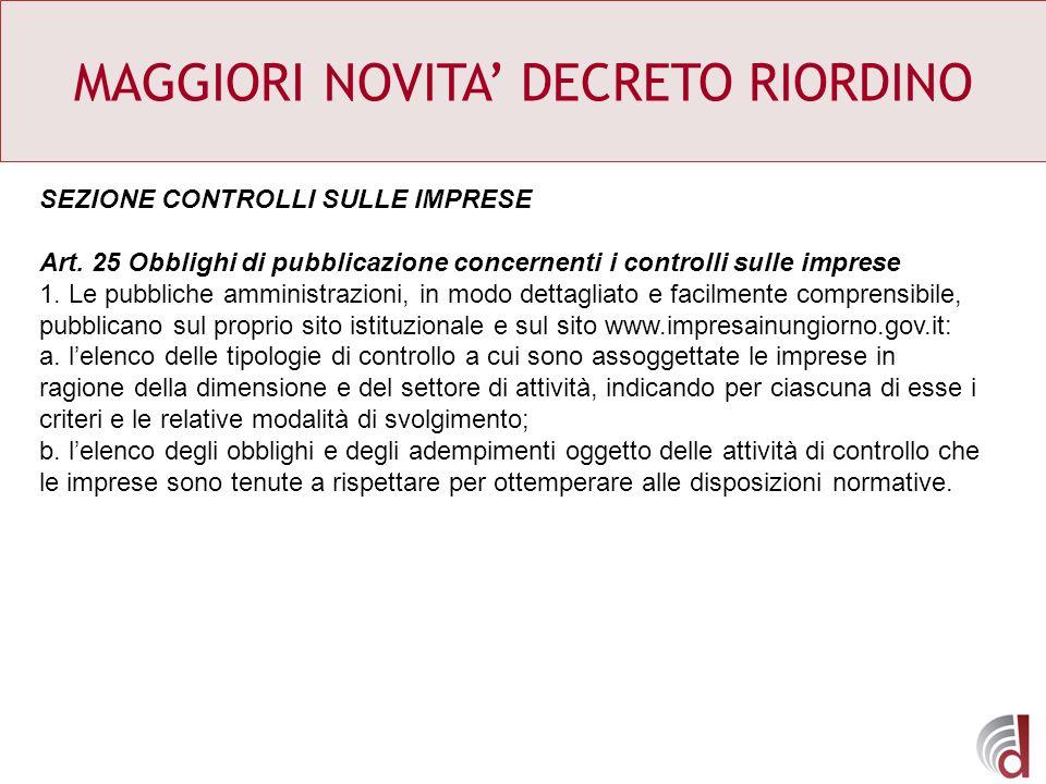 MAGGIORI NOVITA DECRETO RIORDINO SEZIONE CONTROLLI SULLE IMPRESE Art. 25 Obblighi di pubblicazione concernenti i controlli sulle imprese 1. Le pubblic