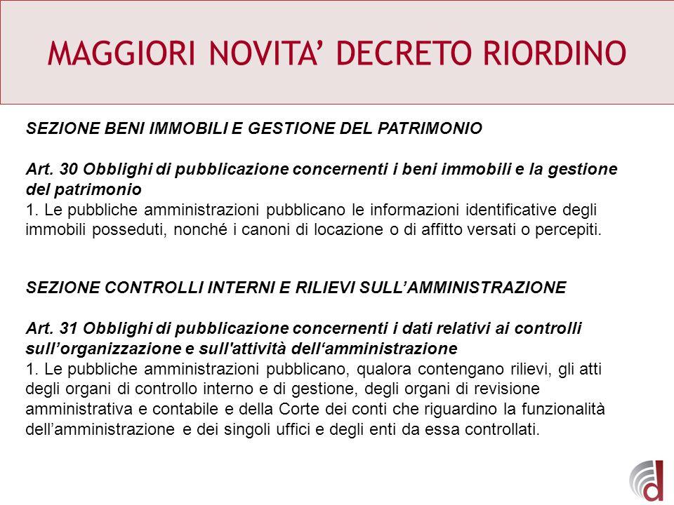 MAGGIORI NOVITA DECRETO RIORDINO SEZIONE BENI IMMOBILI E GESTIONE DEL PATRIMONIO Art. 30 Obblighi di pubblicazione concernenti i beni immobili e la ge