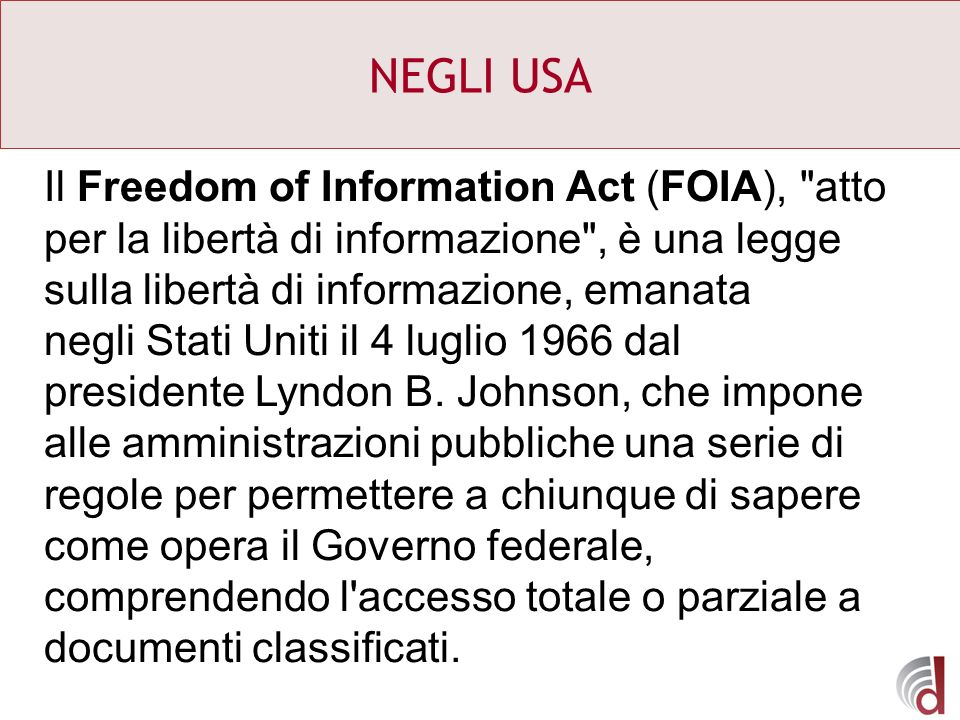 NEGLI USA Il Freedom of Information Act (FOIA),
