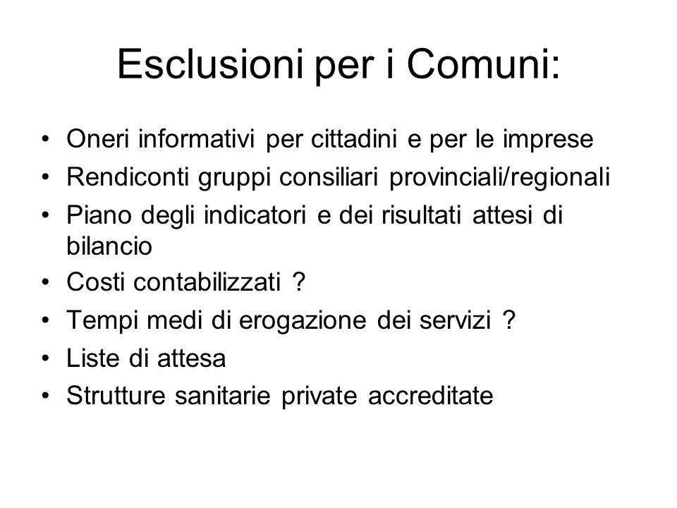 Esclusioni per i Comuni: Oneri informativi per cittadini e per le imprese Rendiconti gruppi consiliari provinciali/regionali Piano degli indicatori e