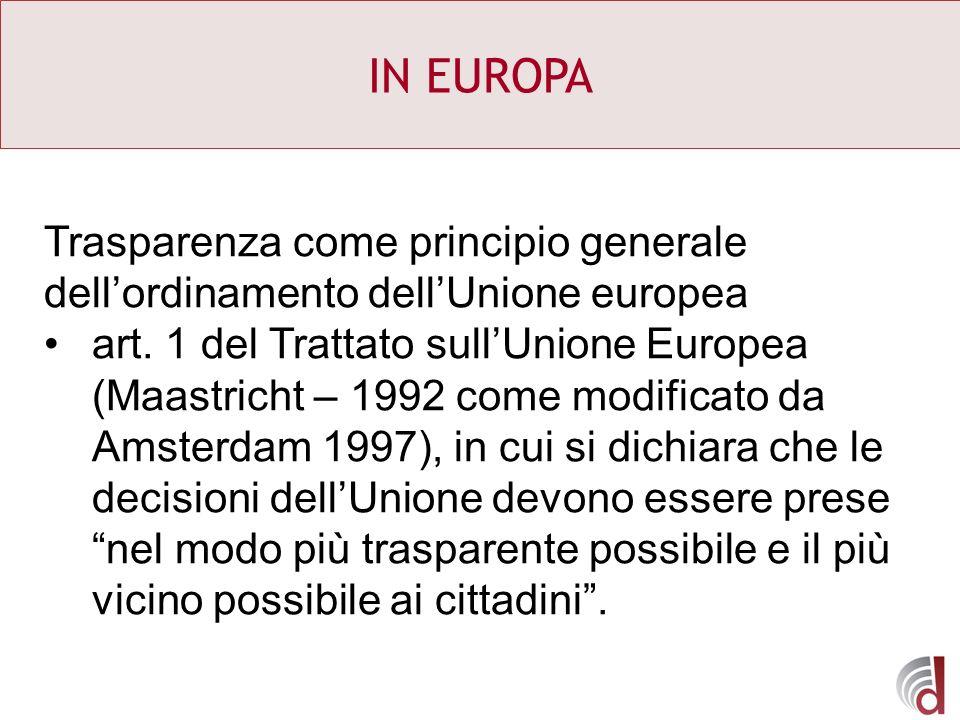 IN EUROPA Trasparenza come principio generale dellordinamento dellUnione europea art. 1 del Trattato sullUnione Europea (Maastricht – 1992 come modifi