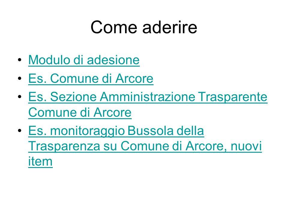 Come aderire Modulo di adesione Es. Comune di Arcore Es. Sezione Amministrazione Trasparente Comune di ArcoreEs. Sezione Amministrazione Trasparente C