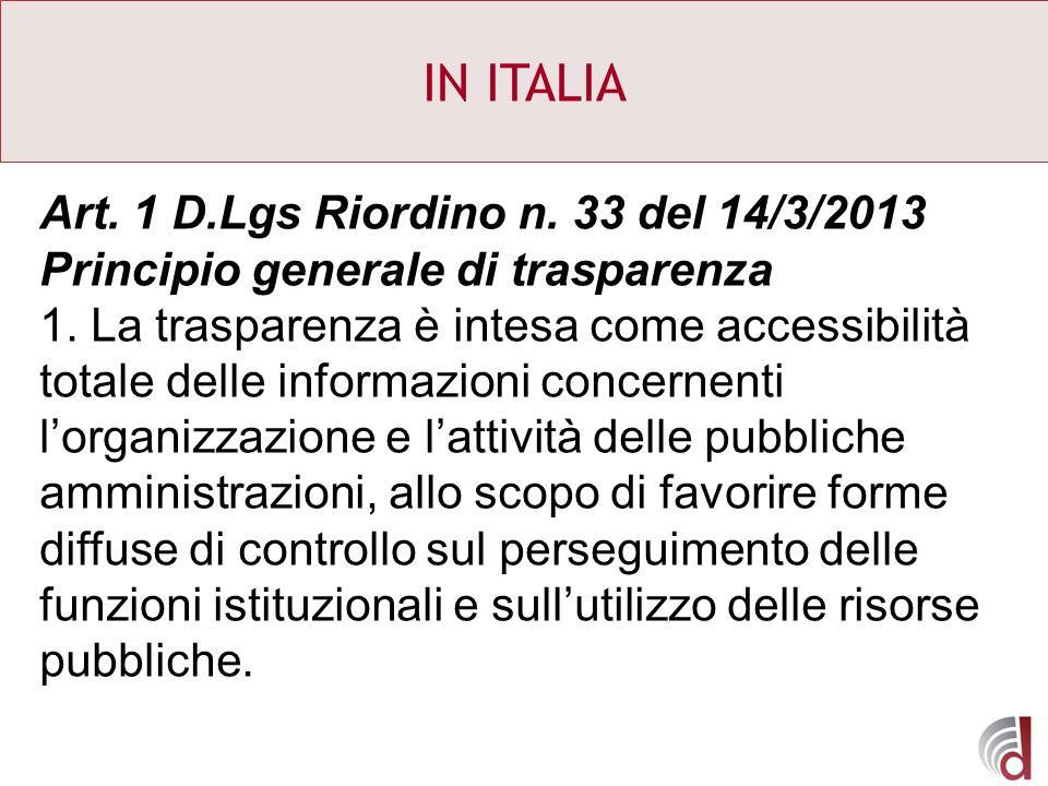 IN ITALIA Art. 1 D.Lgs Riordino n. 33 del 14/3/2013 Principio generale di trasparenza 1. La trasparenza è intesa come accessibilità totale delle infor