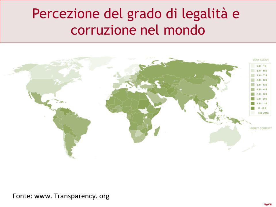Percezione del grado di legalità e corruzione nel mondo