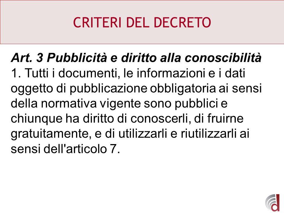CRITERI DEL DECRETO Art. 3 Pubblicità e diritto alla conoscibilità 1. Tutti i documenti, le informazioni e i dati oggetto di pubblicazione obbligatori