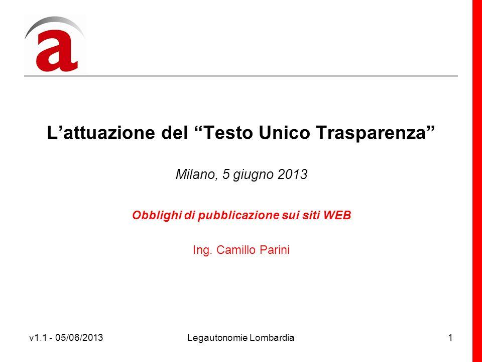 v1.1 - 05/06/2013Legautonomie Lombardia1 Lattuazione del Testo Unico Trasparenza Milano, 5 giugno 2013 Obblighi di pubblicazione sui siti WEB Ing.