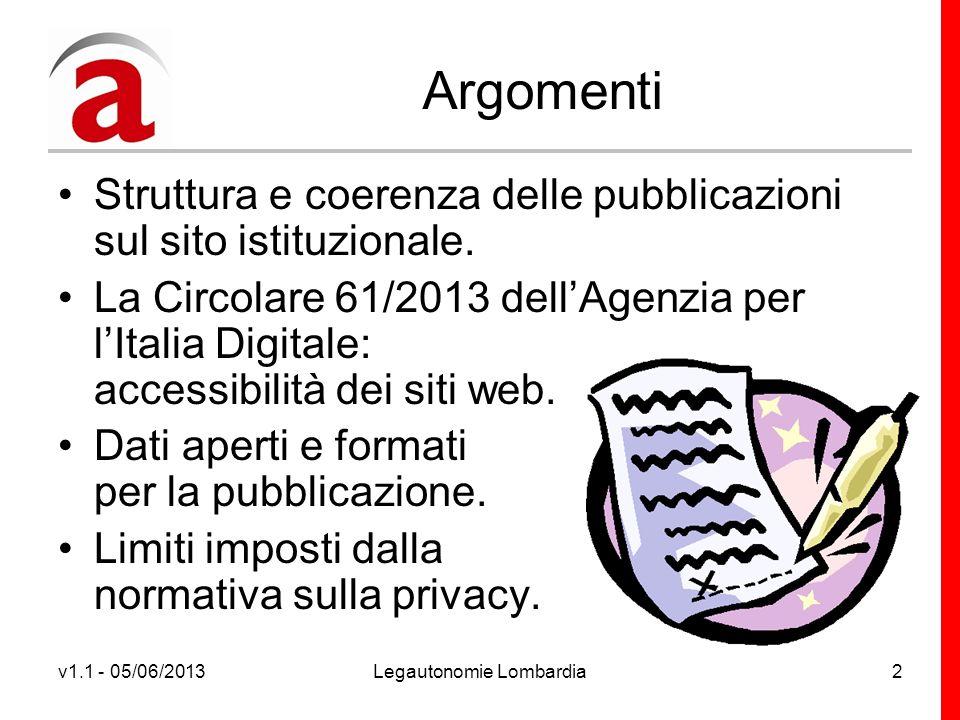 v1.1 - 05/06/2013Legautonomie Lombardia3 Struttura e coerenza delle pubblicazioni sul sito istituzionale