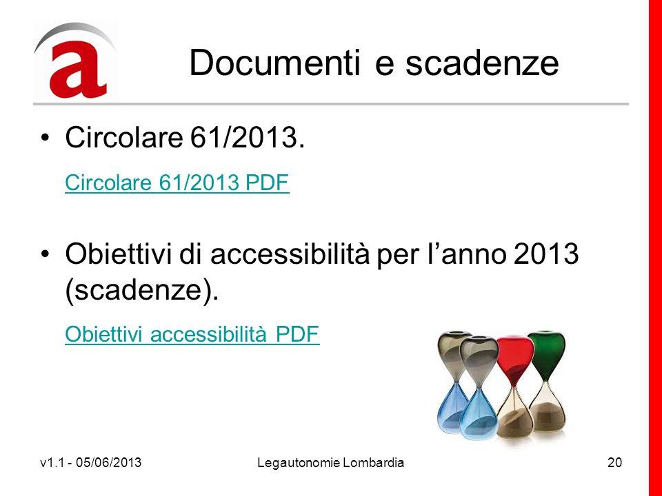 v1.1 - 05/06/2013Legautonomie Lombardia20 Documenti e scadenze Circolare 61/2013.