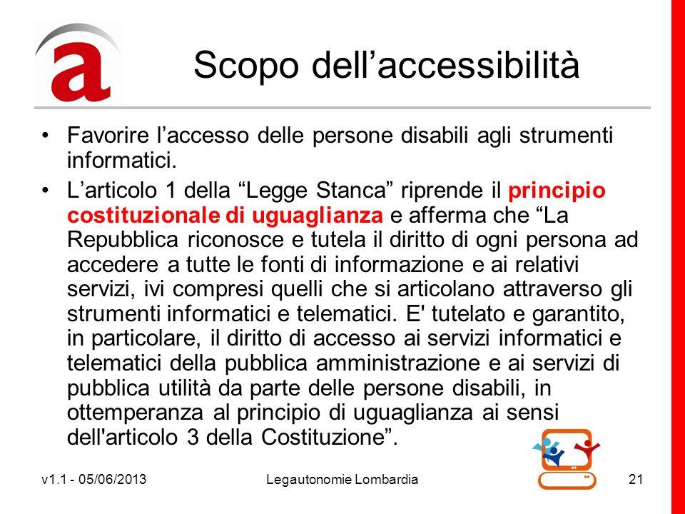 v1.1 - 05/06/2013Legautonomie Lombardia21 Scopo dellaccessibilità Favorire laccesso delle persone disabili agli strumenti informatici.