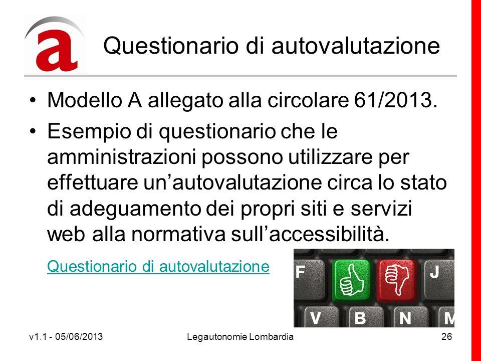 v1.1 - 05/06/2013Legautonomie Lombardia26 Questionario di autovalutazione Modello A allegato alla circolare 61/2013.