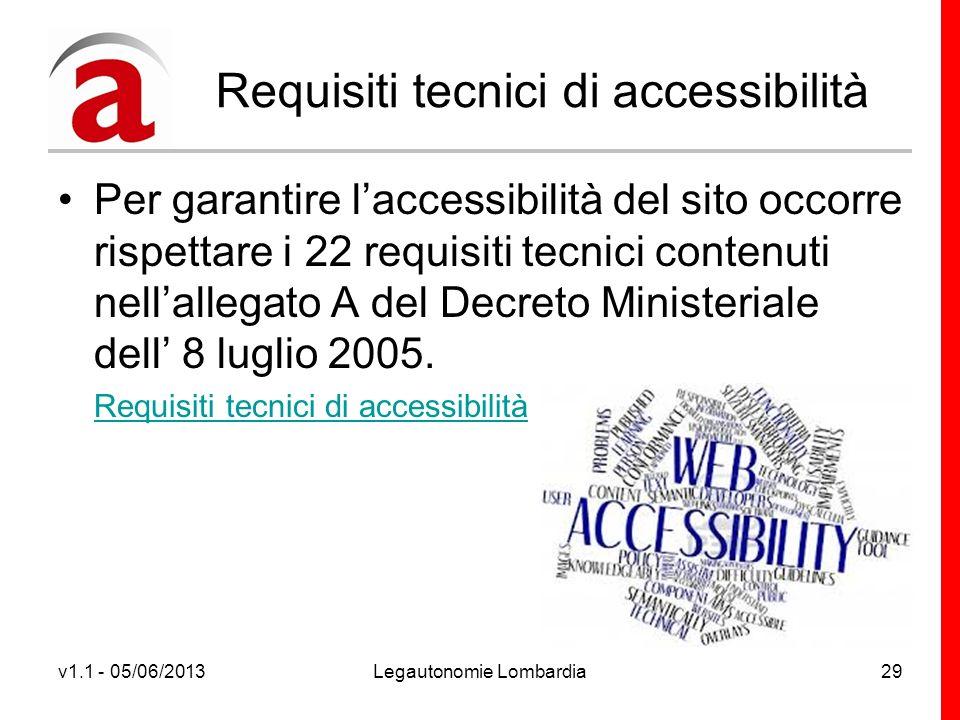 v1.1 - 05/06/2013Legautonomie Lombardia29 Requisiti tecnici di accessibilità Per garantire laccessibilità del sito occorre rispettare i 22 requisiti tecnici contenuti nellallegato A del Decreto Ministeriale dell 8 luglio 2005.