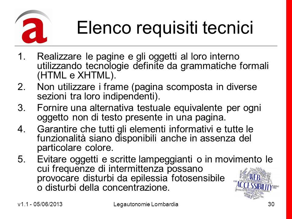 v1.1 - 05/06/2013Legautonomie Lombardia30 Elenco requisiti tecnici 1.Realizzare le pagine e gli oggetti al loro interno utilizzando tecnologie definite da grammatiche formali (HTML e XHTML).