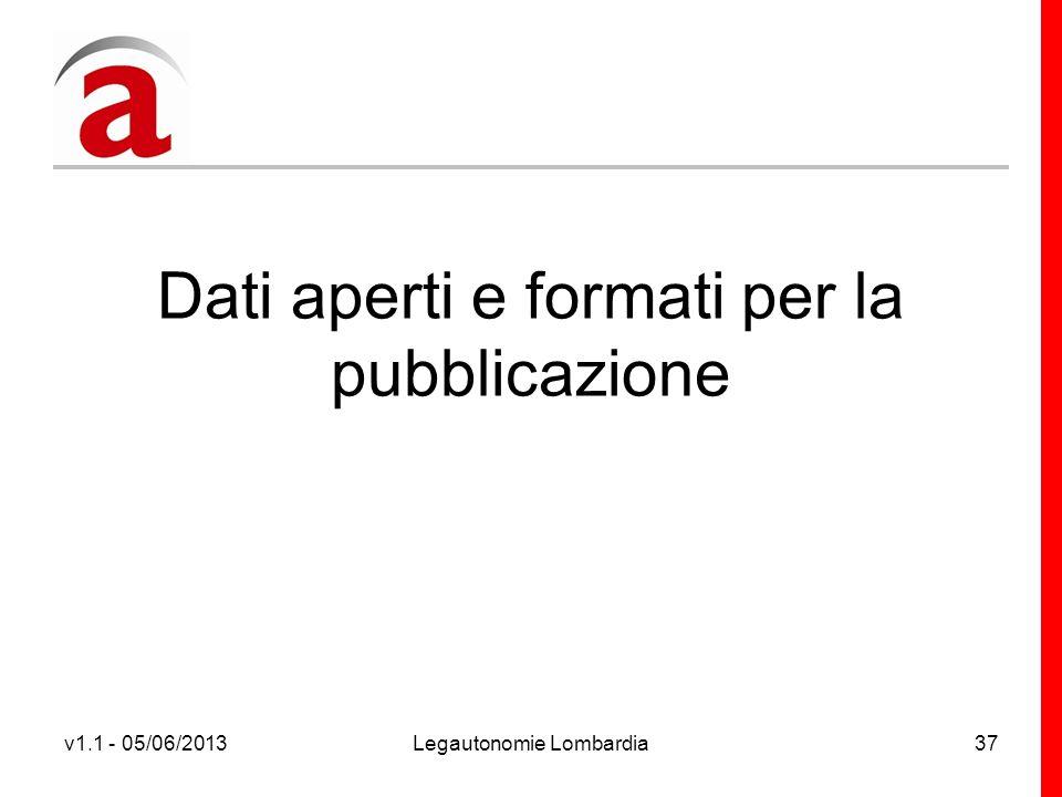 v1.1 - 05/06/2013Legautonomie Lombardia37 Dati aperti e formati per la pubblicazione