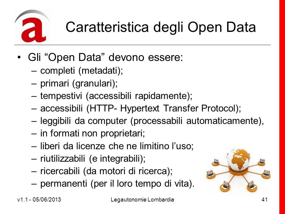 v1.1 - 05/06/2013Legautonomie Lombardia41 Caratteristica degli Open Data Gli Open Data devono essere: –completi (metadati); –primari (granulari); –tempestivi (accessibili rapidamente); –accessibili (HTTP- Hypertext Transfer Protocol); –leggibili da computer (processabili automaticamente), –in formati non proprietari; –liberi da licenze che ne limitino luso; –riutilizzabili (e integrabili); –ricercabili (da motori di ricerca); –permanenti (per il loro tempo di vita).