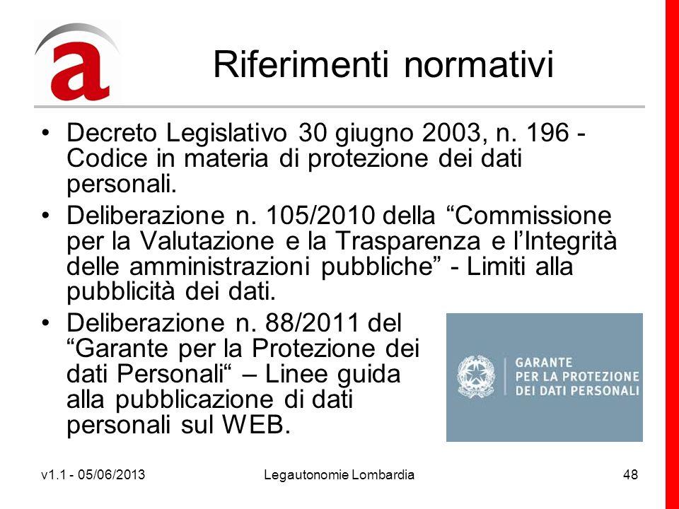 v1.1 - 05/06/2013Legautonomie Lombardia48 Riferimenti normativi Decreto Legislativo 30 giugno 2003, n.