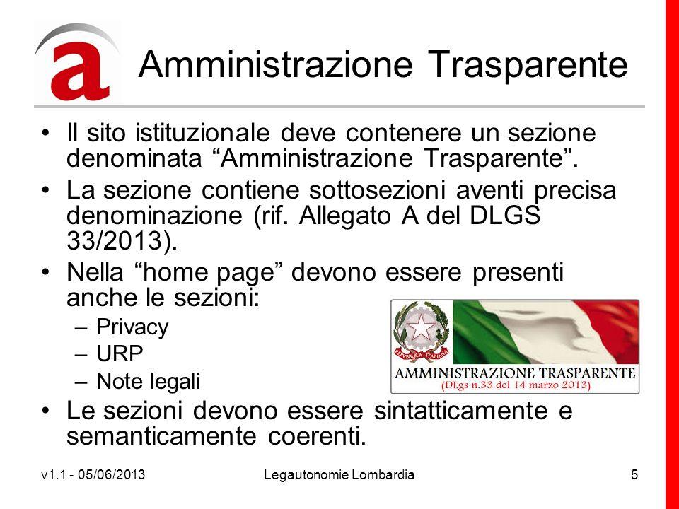 v1.1 - 05/06/2013Legautonomie Lombardia5 Amministrazione Trasparente Il sito istituzionale deve contenere un sezione denominata Amministrazione Trasparente.